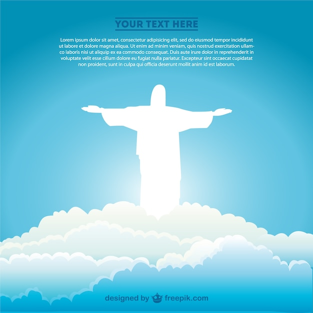 White christ the redeemer silhouette in the clouds Free Vector