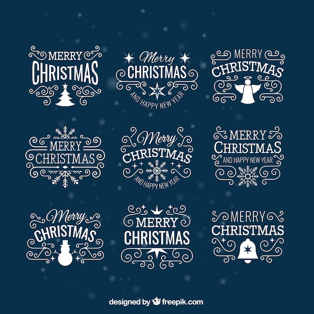 White christmas badges Premium Vector