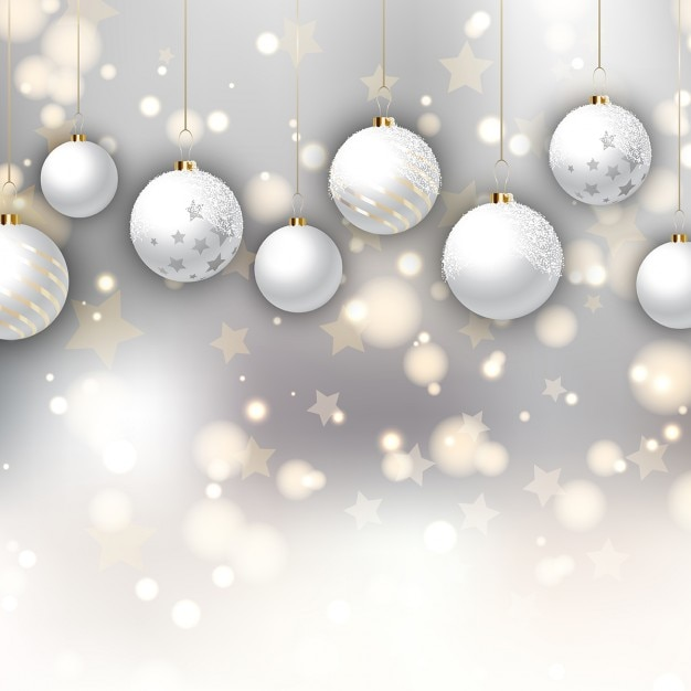 White christmas balls on a background with stars Vector | Free ...