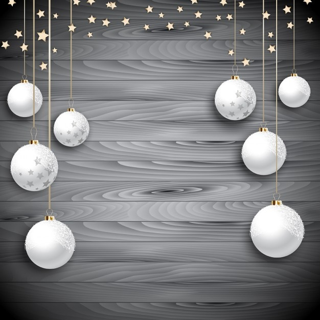 White christmas balls on wood Vector | Free Download