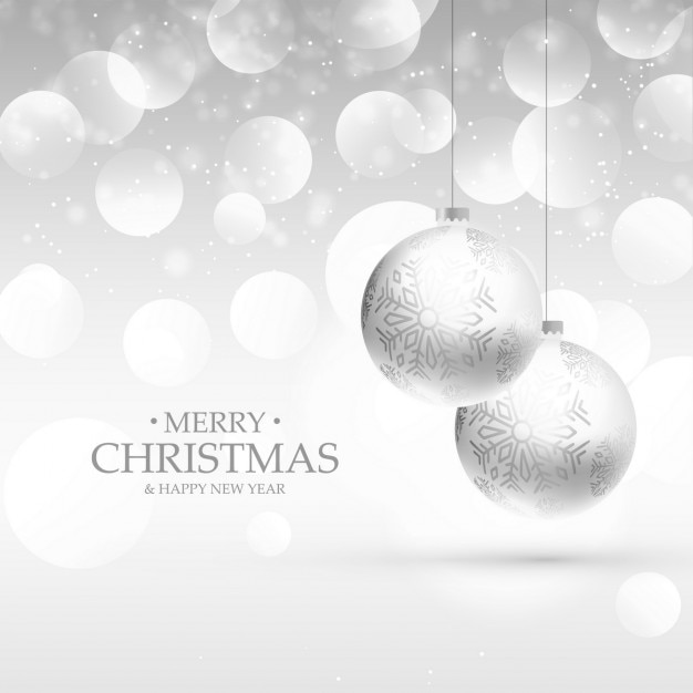 White Christmas Background.White Christmas Balls On A White Background With Bubbles