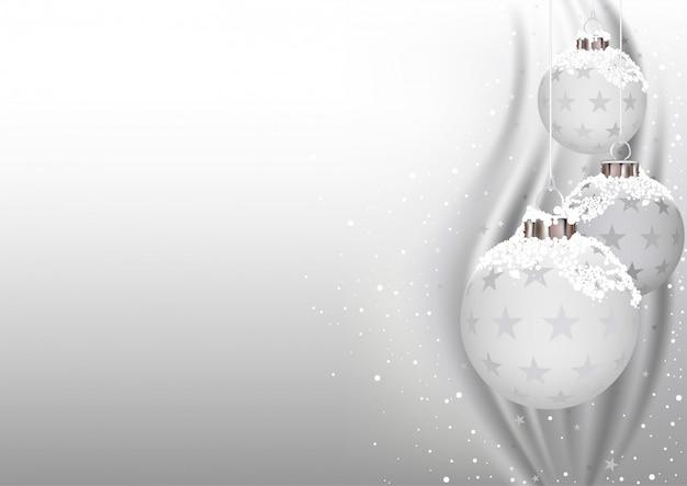 White christmas balls Premium Vector