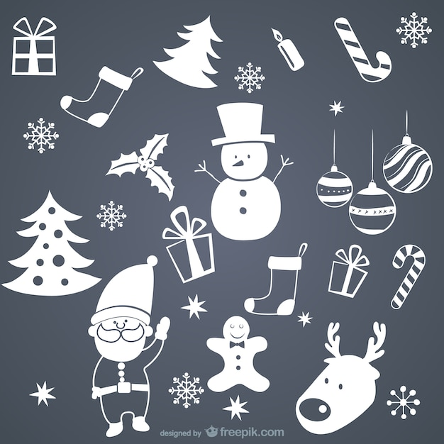 White Christmas elements Free Vector