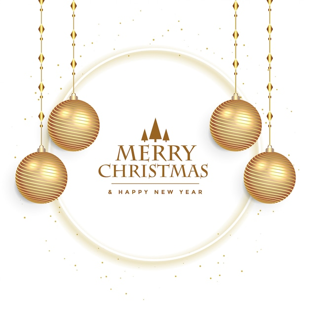 White christmas festival card with balls decoration Free Vector