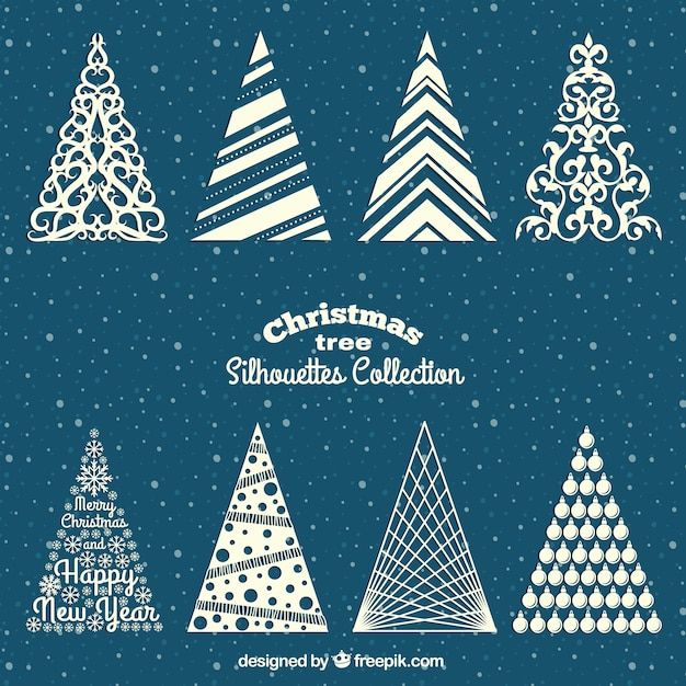 Christmas Trees Silhouette.White Christmas Trees Silhouettes Vector Free Download