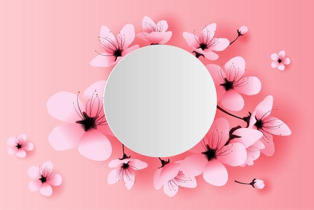 White circle spring season cherry blossom concept Premium Vector