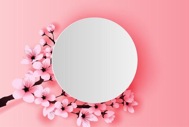 White circle spring season cherry blossom Premium Vector