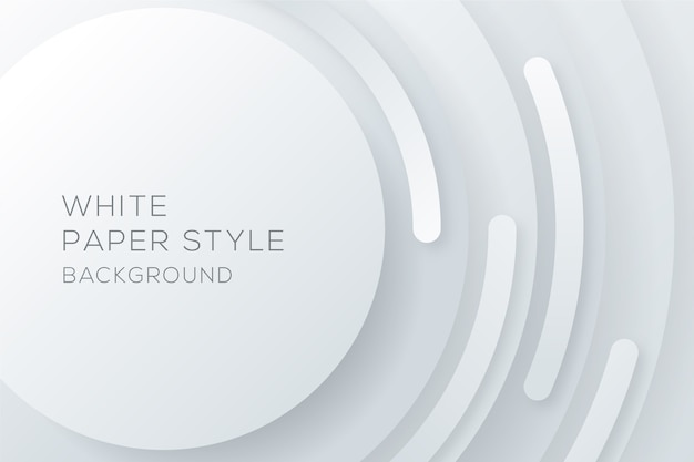 White circular paper style background Free Vector