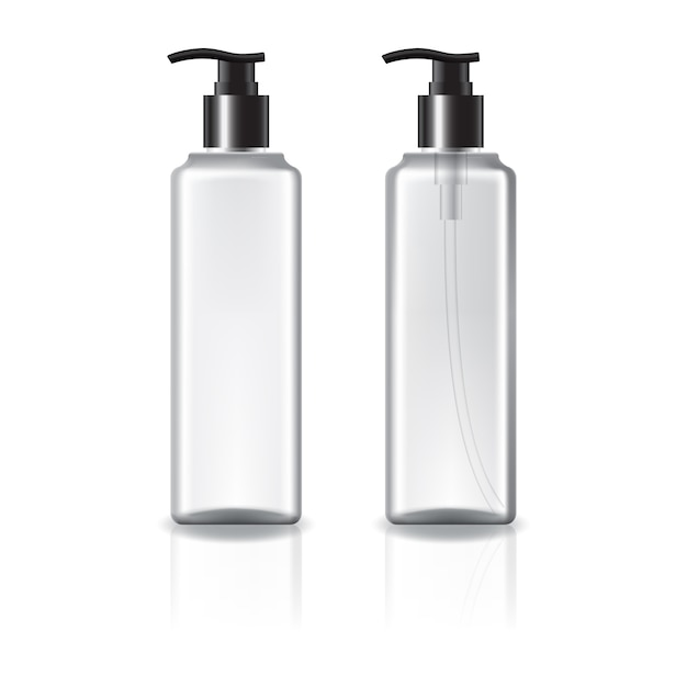 White and clear square cosmetic bottle with black pump head. Premium Vector