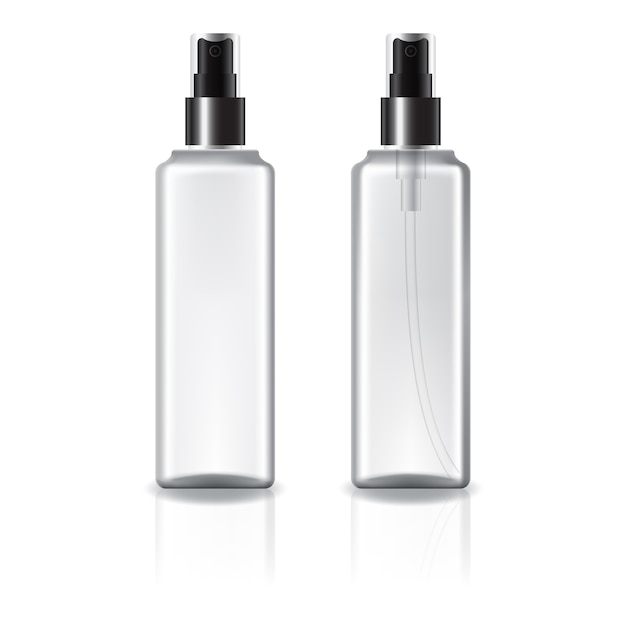 White and clear square cosmetic bottle with black spray head. Premium Vector