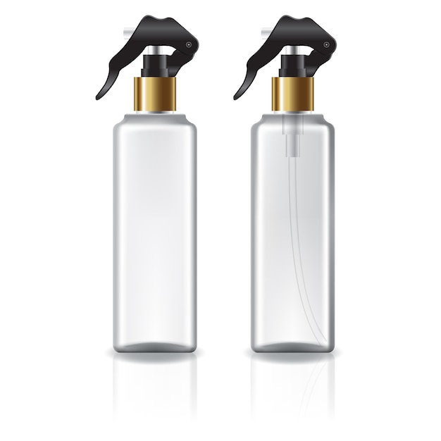 White and clear square cosmetic bottle with gold spray head. Premium Vector