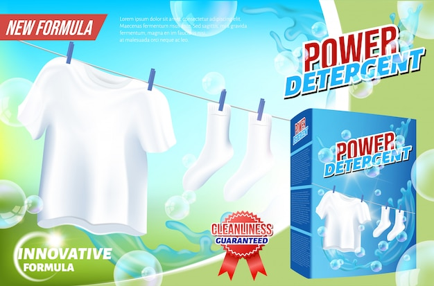 White clothes hanging on rope power detergent Premium Vector