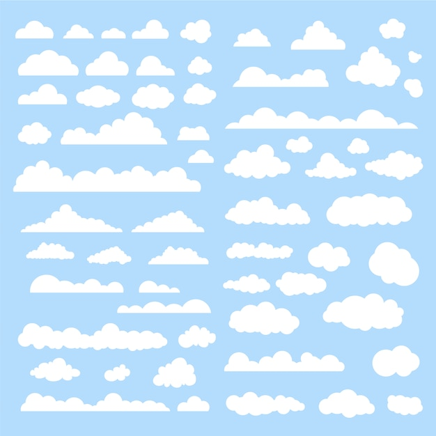 White clouds collection Free Vector