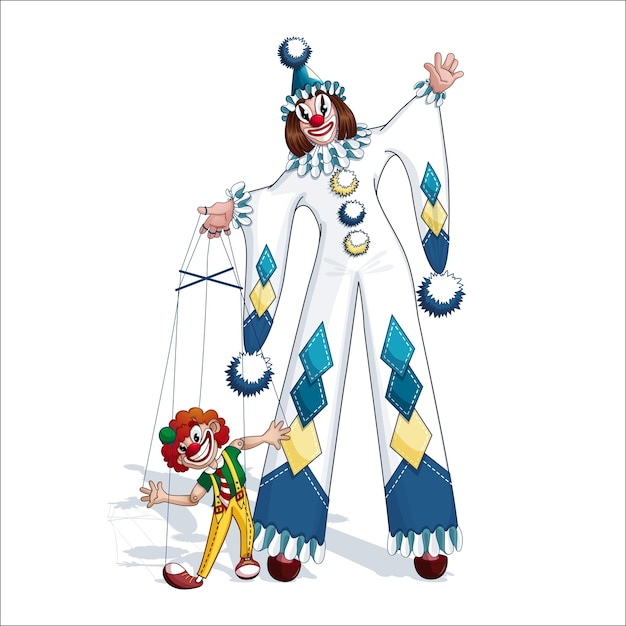 White clown pierrot with red clown puppet. Premium Vector