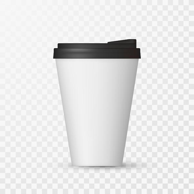 Макет белой кофейной крышки. Premium векторы