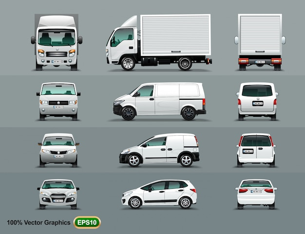 White color of the car in three positions. Premium Vector