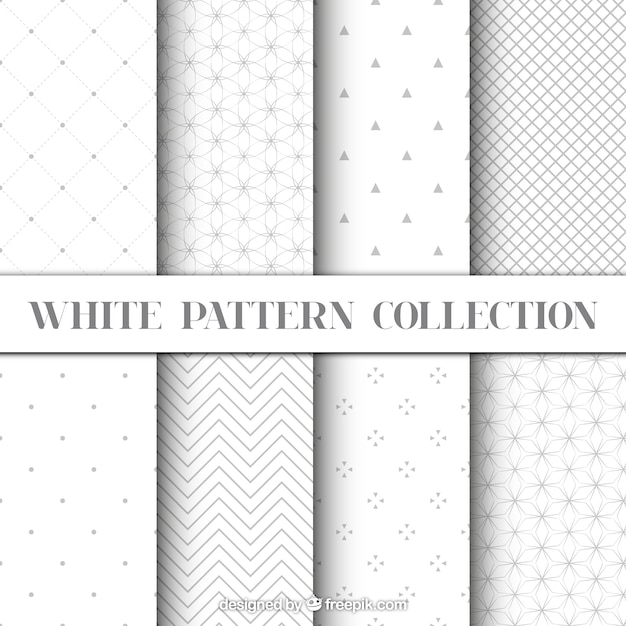 White color geometric patterns set  Premium Vector