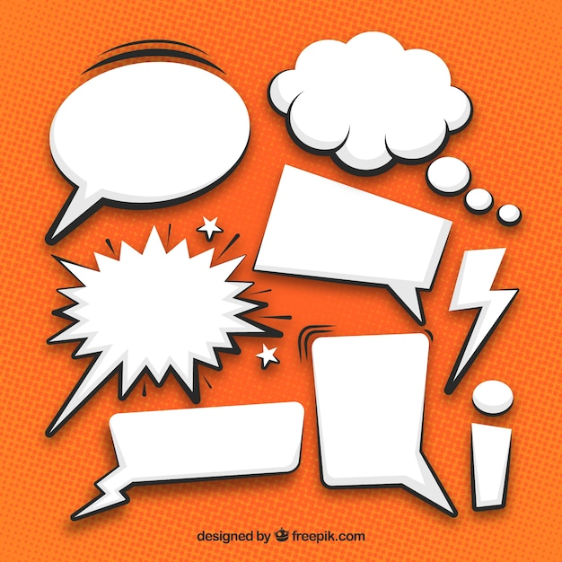 White comic speech bubbles collection Free Vector
