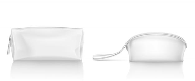 化粧用ジッパー付き白い化粧品袋 無料ベクター