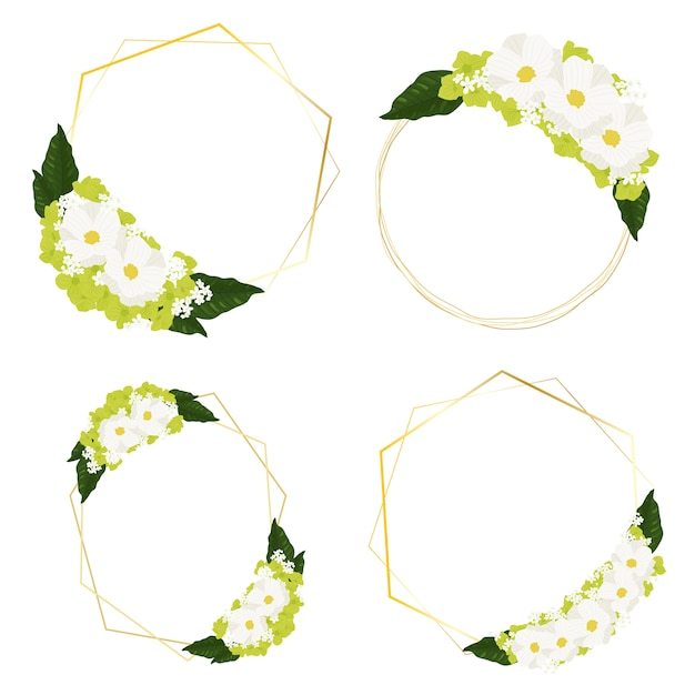 White cosmos and green hydrangea flowers bouquet with golden frame wreath Premium Vector