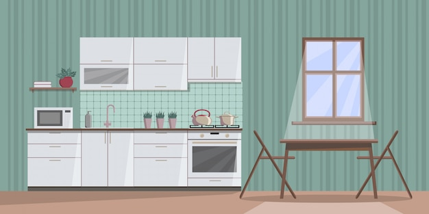窓からの月明かりと夜に白い居心地の良いキッチンインテリア Premiumベクター