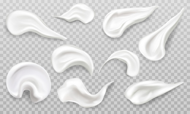White cream smears swatch set. cosmetics beauty skin care product strokes Free Vector
