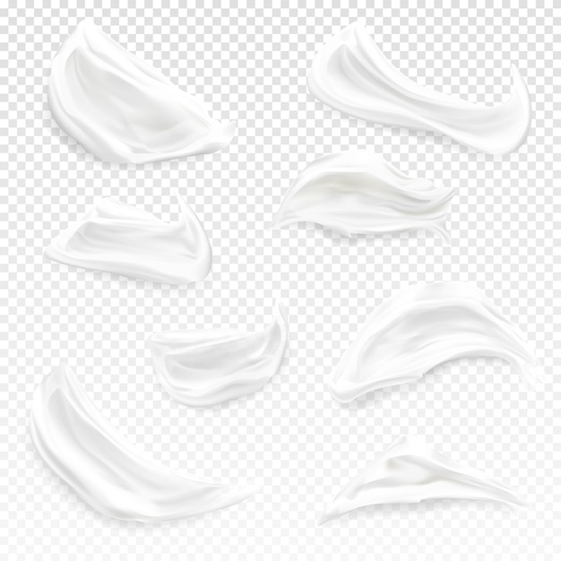 White cream strokes illustration of realistic 3d cosmetic moisturizer, gel or foam and paint Free Vector