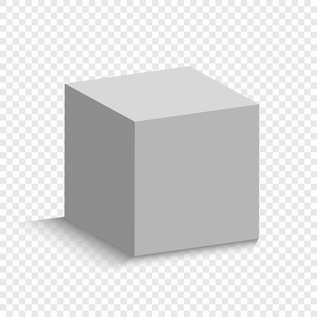 視点を持つ白い立方体。影付きの3 dボックスモデル Premiumベクター