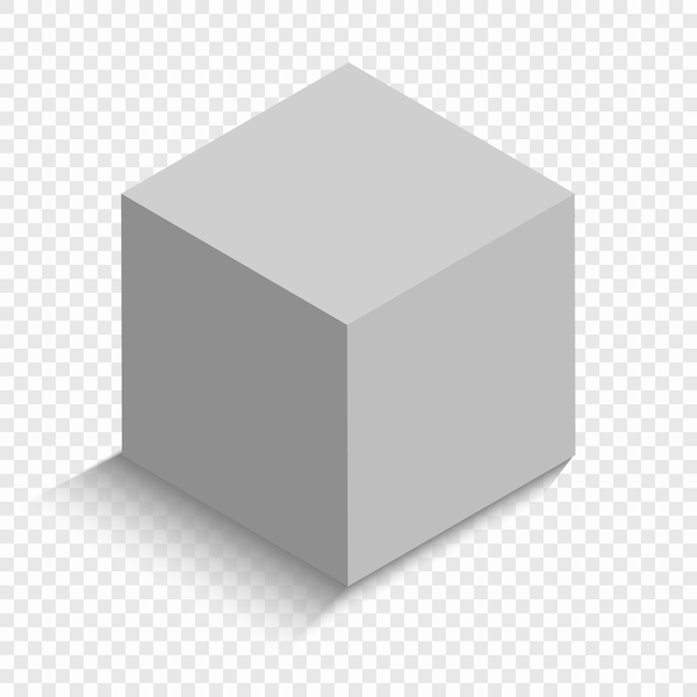 White cube with a perspective. 3d box model with a shadow Premium Vector
