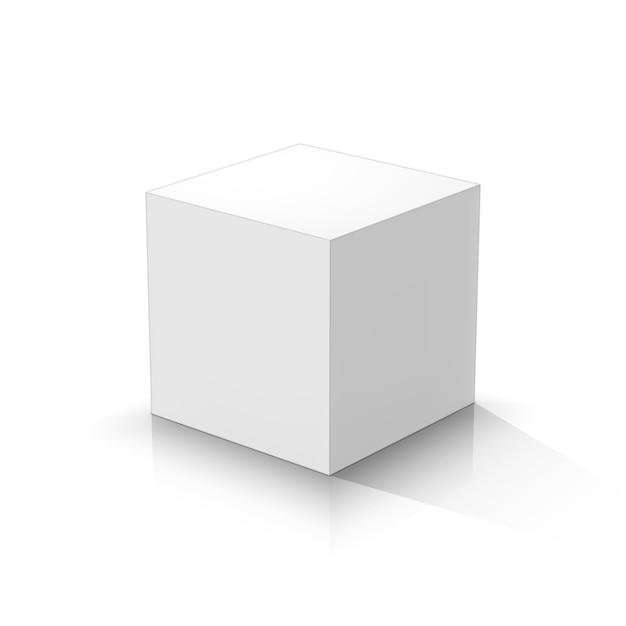 White cube Premium Vector