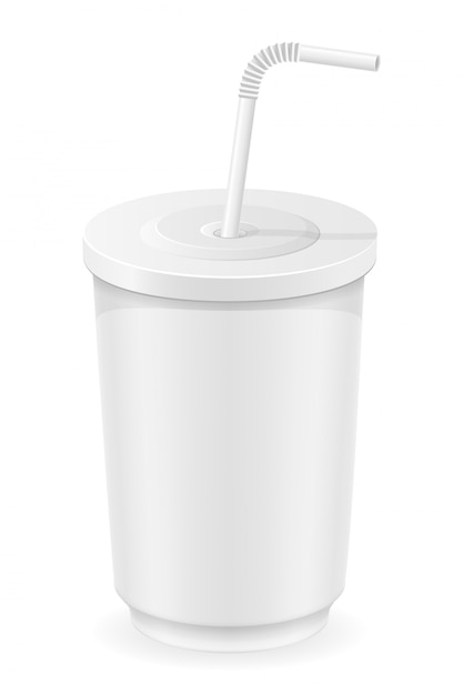 White cup of soda water vector illustration Premium Vector