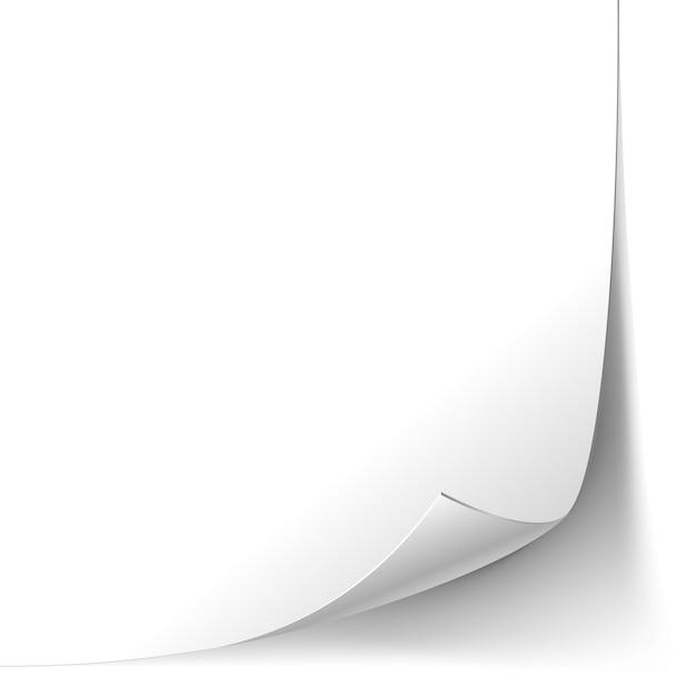 Pagina di carta riccia bianca isolata Vettore gratuito