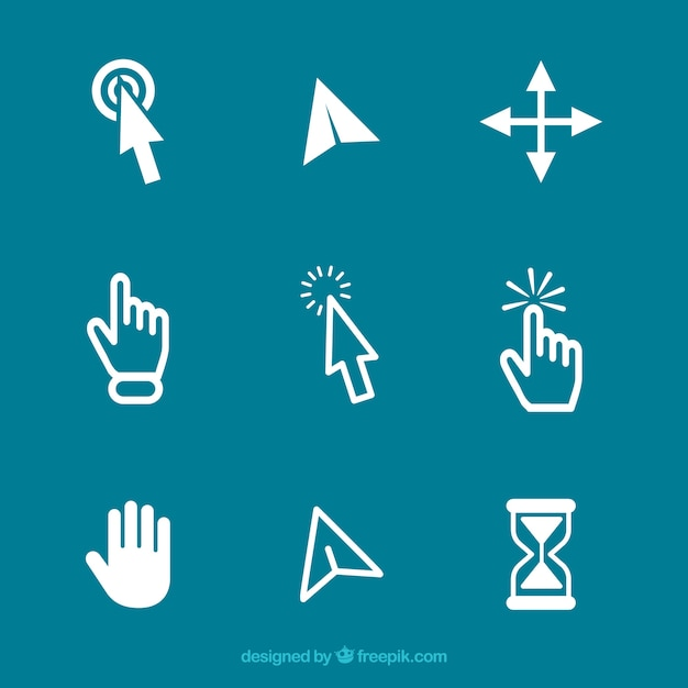 White cursor set Free Vector