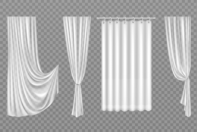 Белые шторы, изолированные на прозрачной Бесплатные векторы