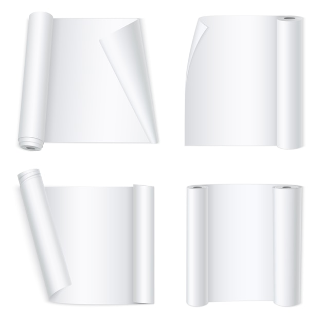 White curved paper banners Free Vector