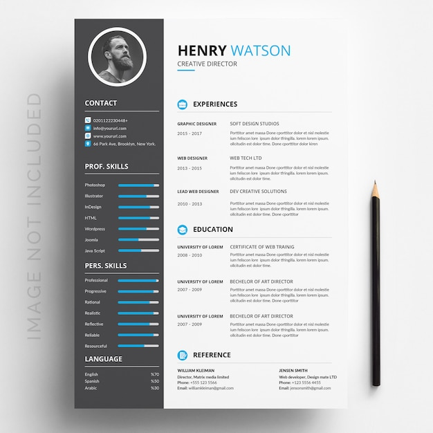 white cv template with blue and grey details vector