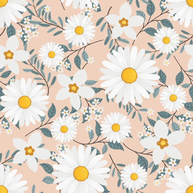 White daisy flowers wreath ivy style with branch and leaves, seamless pattern Premium Vector