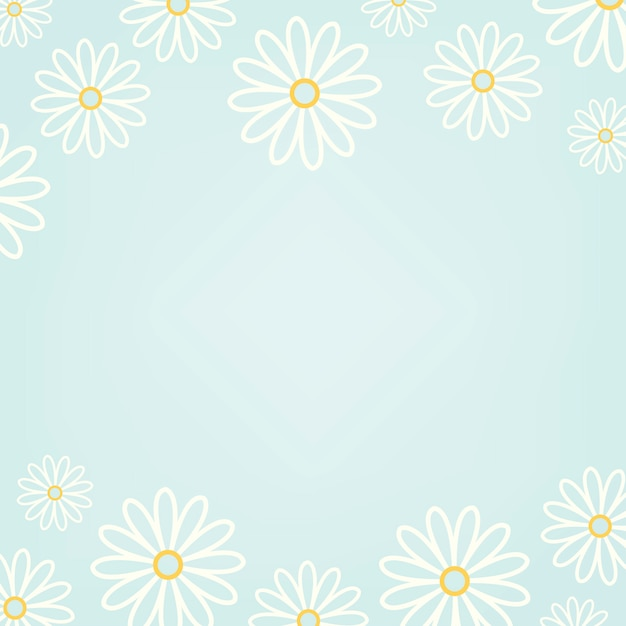 White daisy pattern with a light blue background vector Free Vector