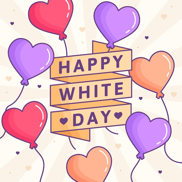 White day in illustration with heart balloons Free Vector