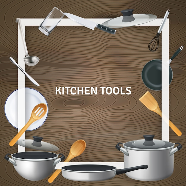 White decorative square frame with realistic kitchen tools on wooden texture illustration Free Vector