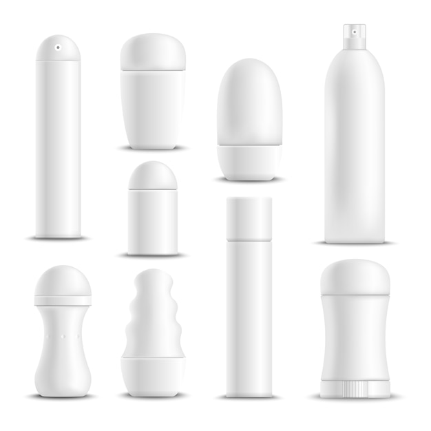 White deodorants set Free Vector