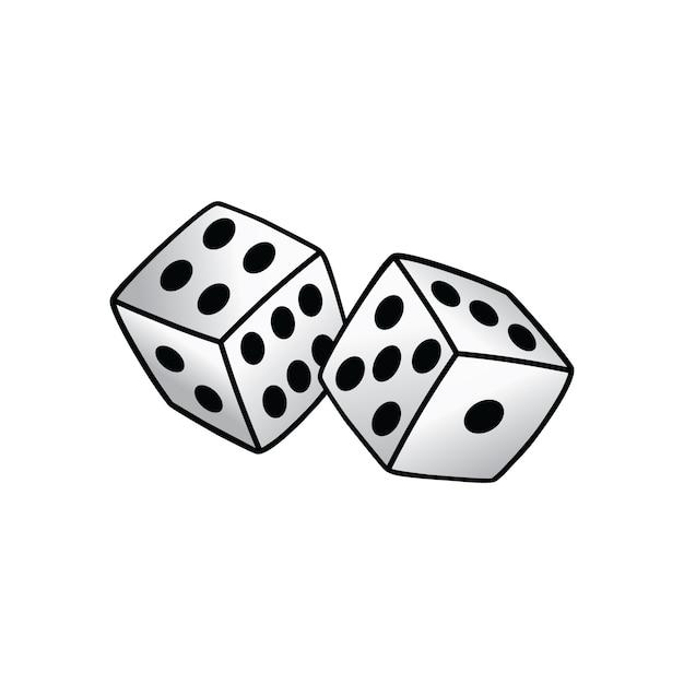 White dice risk taker gamble vector art illustration Premium Vector
