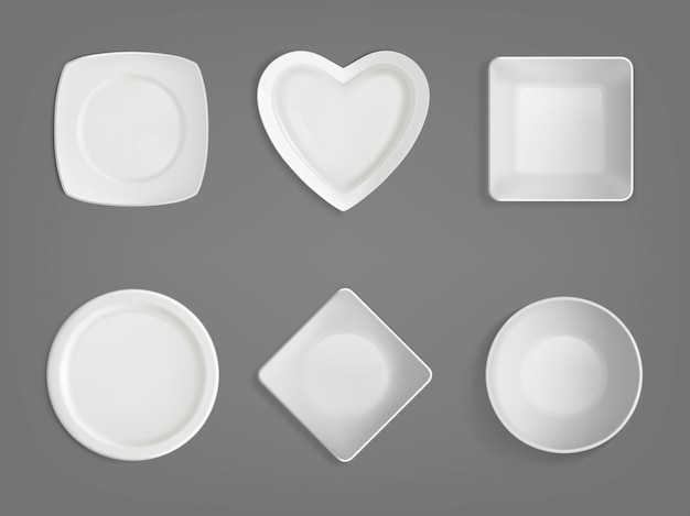 White different shapes bowls Free Vector