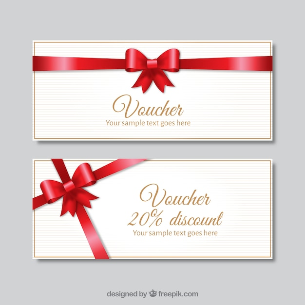 White discount banners with a red bow Free Vector