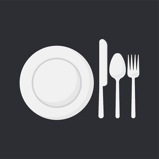 White dish and utensils set vector illustration Free Vector