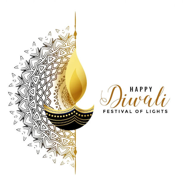 White diwali background with golden diya Free Vector