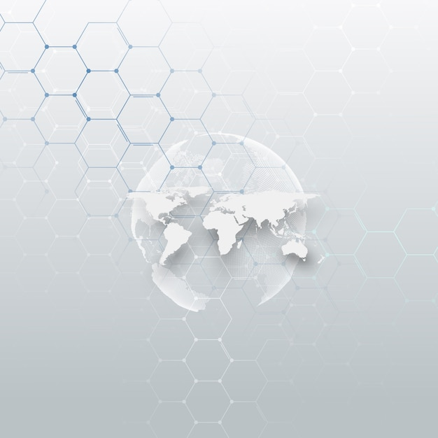 White dotted world globe Premium Vector