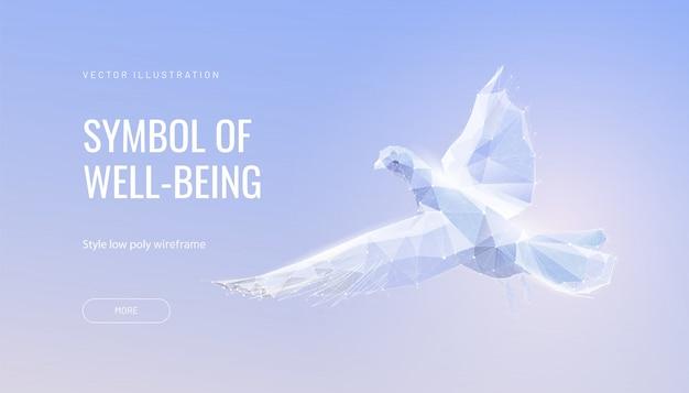 Белый голубь в небе. концепция мира, свободы и надежды Premium векторы