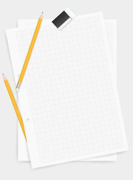 White drawing paper background with pencil and eraser. Premium Vector