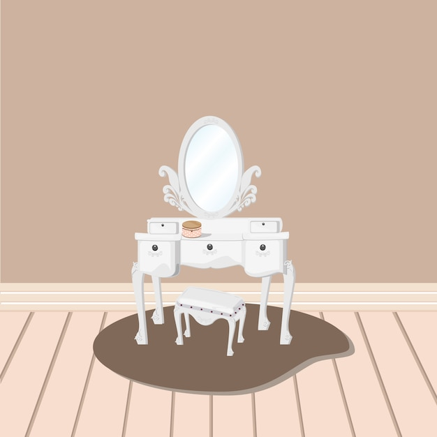 White dressing table with relate mirror and stool vector Premium Vector